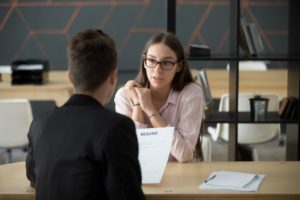 Recruiter and applicant having an interview