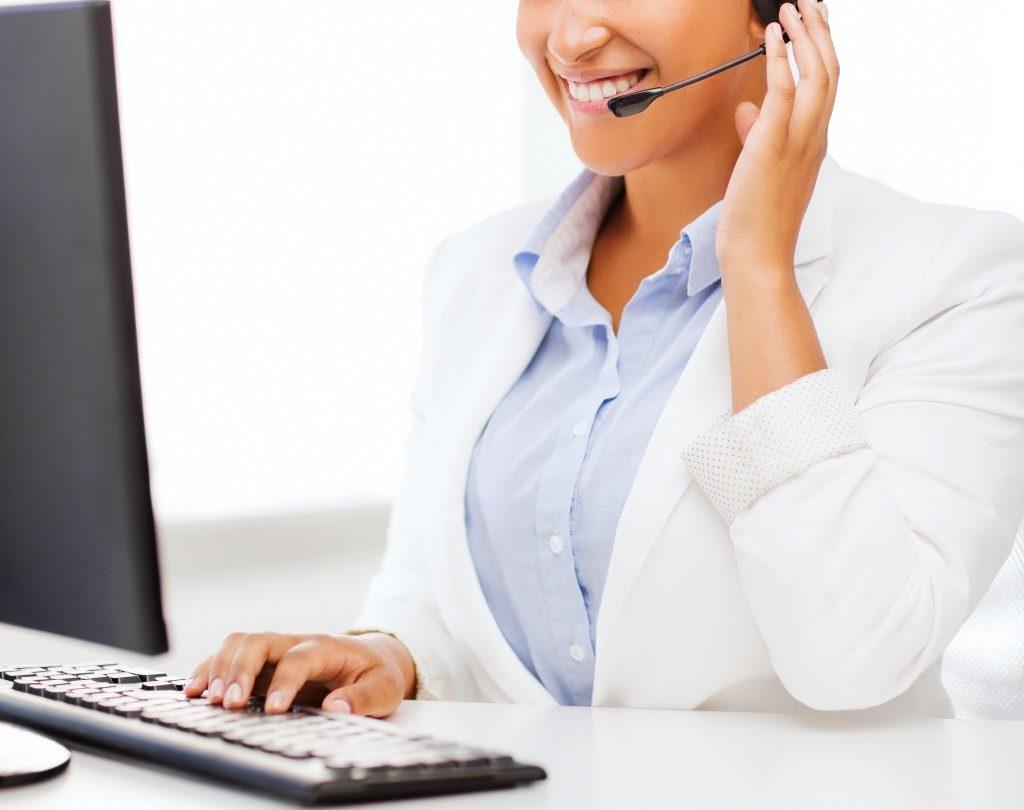 woman using a wireless headset