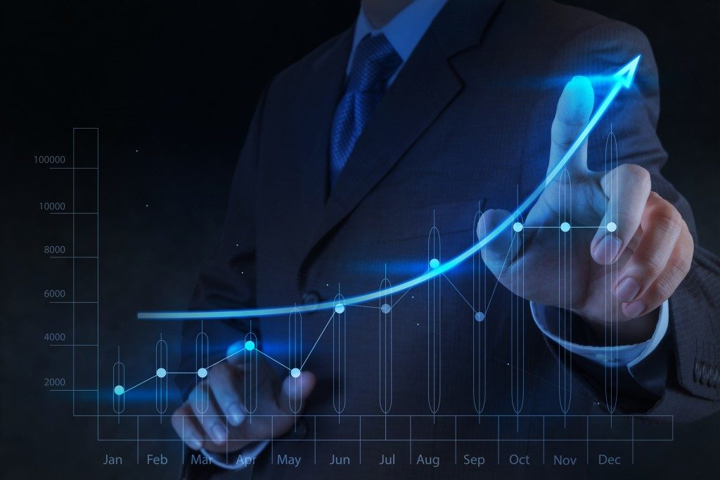 businessman and chart