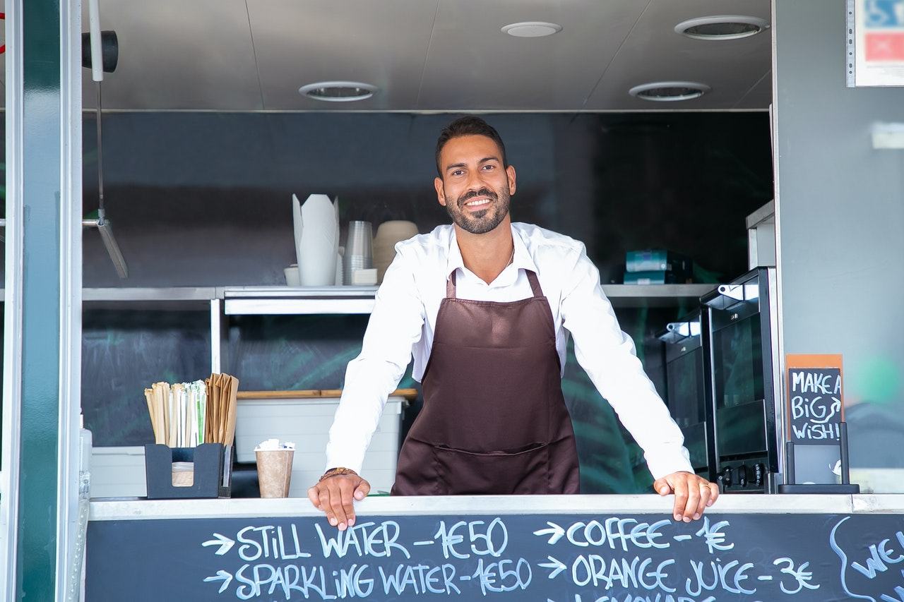 man in food truck business