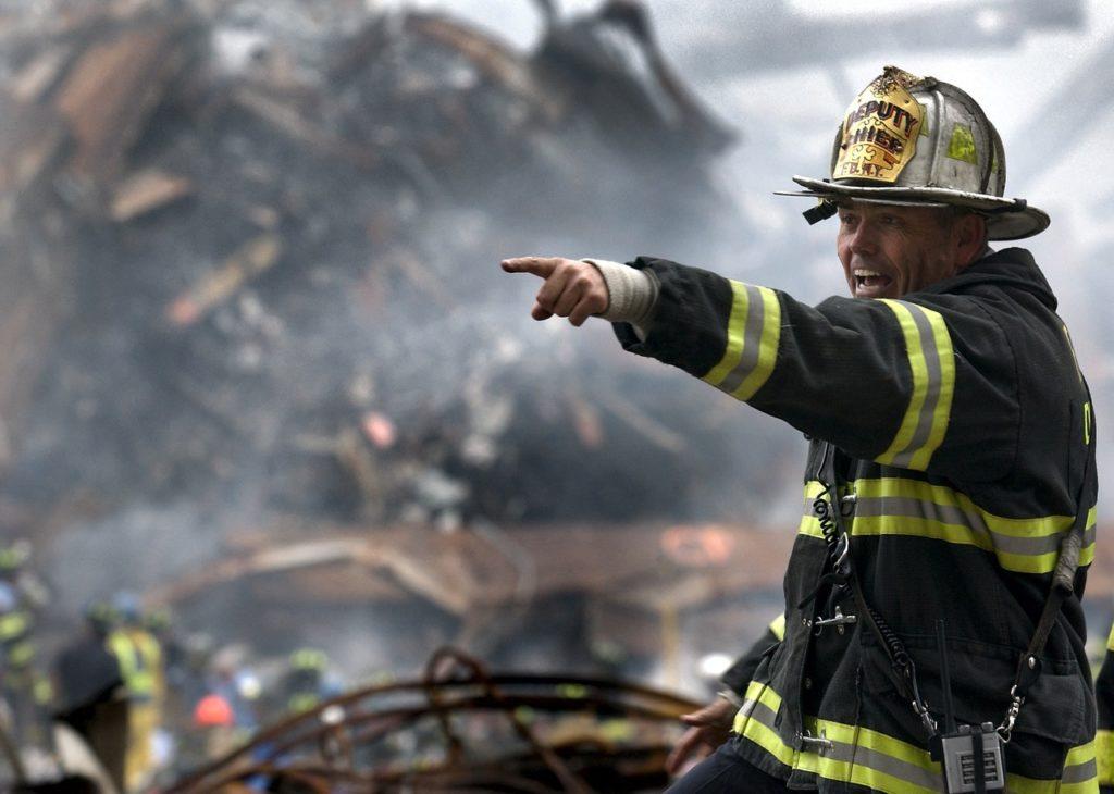 fireman putting out a fire