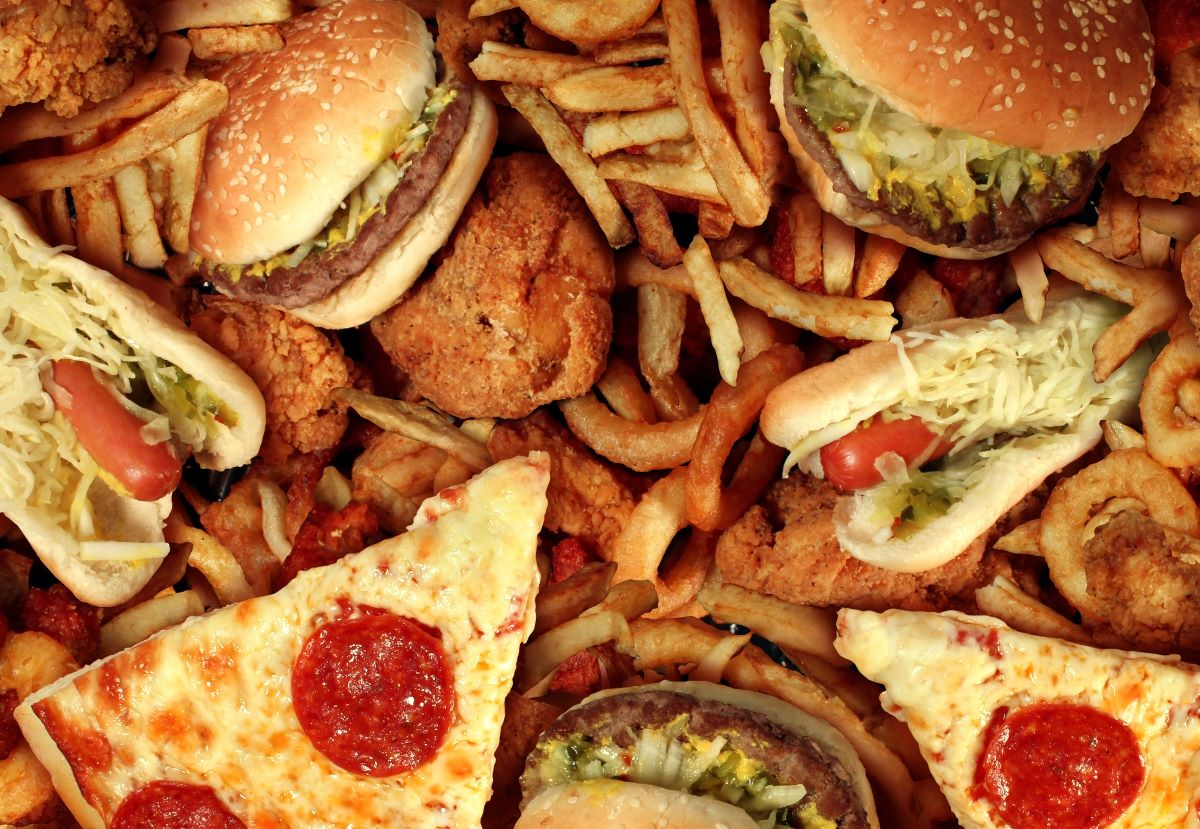 fast food concept burger fries pizza