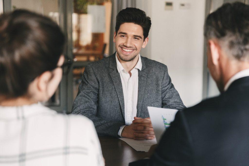 man in an interview