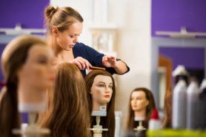 hair stylist practicing