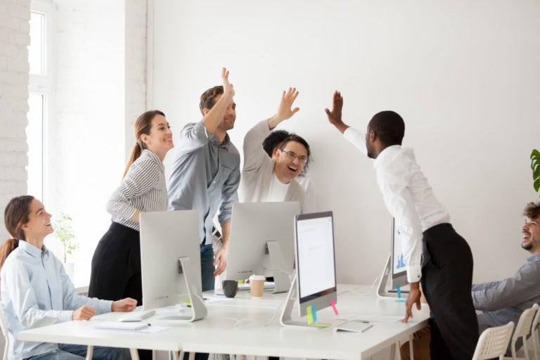 employee high fives
