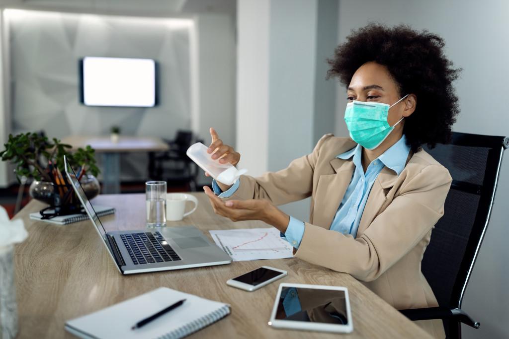 employee disinfecting